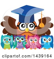 Clipart Of A Professor Owl And Students Royalty Free Vector Illustration