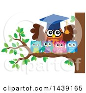 Clipart Of A Professor Owl And Students On A Tree Branch Royalty Free Vector Illustration