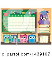 Clipart Of A Professor Owl And Students By A School Timetable Royalty Free Vector Illustration