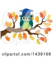 Professor Owl On An Autumn Tree Branch