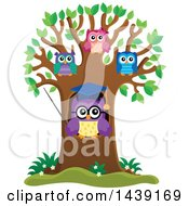 Clipart Of A Professor Owl And Students In A Tree With Spring Leaves Royalty Free Vector Illustration