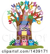 Clipart Of A Professor Owl And Students In An Alphabet Tree Royalty Free Vector Illustration