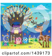 Clipart Of A Deer By A Professor Owl And Students In A Tree With Autumn Leaves Royalty Free Vector Illustration