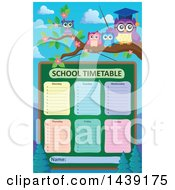 Clipart Of A Professor Owl And Students On A Branch Over A School Timetable Royalty Free Vector Illustration