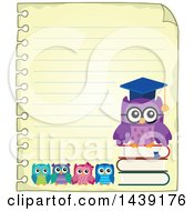 Clipart Of A Sheet Of Ruled School Paper With A Professor Owl And Students Royalty Free Vector Illustration by visekart