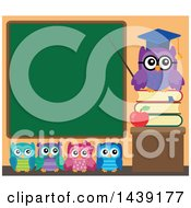 Clipart Of A Professor Owl And Students In A Class Room Pointing To A Chalkboard Royalty Free Vector Illustration by visekart
