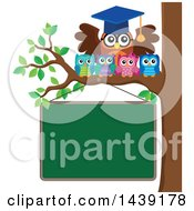 Clipart Of A Professor Owl And Students On A Tree Branch Over A Chalkboard Royalty Free Vector Illustration by visekart