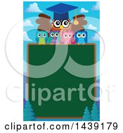 Clipart Of A Professor Owl And Students Over A Chalkboard And Mountains Royalty Free Vector Illustration by visekart