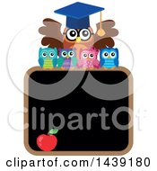 Clipart Of A Professor Owl And Students Over A Black Board Royalty Free Vector Illustration by visekart