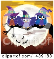 Clipart Of A Group Of Witch Owls On A Tree Branch Against A Full Moon Royalty Free Vector Illustration