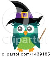 Clipart Of A Green Witch Owl Royalty Free Vector Illustration by visekart