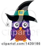 Clipart Of A Brown And Purple Witch Owl With A Spider Royalty Free Vector Illustration by visekart