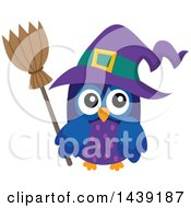 Clipart Of A Purple Witch Owl Royalty Free Vector Illustration