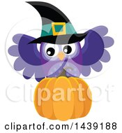 Clipart Of A Purple Witch Owl And Pumpkin Royalty Free Vector Illustration