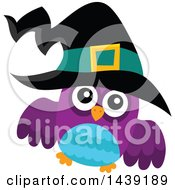 Clipart Of A Blue And Purple Witch Owl Royalty Free Vector Illustration by visekart