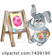Clipart Of A Happy Gray Easter Bunny Rabbit Painting An Egg On Canvas Royalty Free Vector Illustration