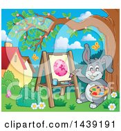 Poster, Art Print Of Happy Gray Easter Bunny Rabbit Painting An Egg On Canvas