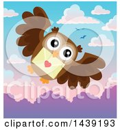 Clipart Of A Valentine Owl Flying With A Love Letter Against A Dawn Or Sunset Sky Royalty Free Vector Illustration