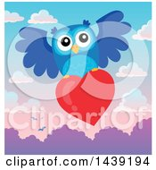 Poster, Art Print Of Valentine Owl Flying With A Love Heart Over A Sunrise Or Sunset Sky