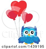 Clipart Of A Blue Valentine Owl Holding Heart Balloons Royalty Free Vector Illustration