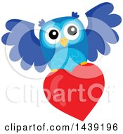 Clipart Of A Valentine Owl Flying With A Love Heart Royalty Free Vector Illustration