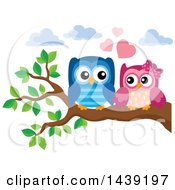 Clipart Of A Valentine Owl Couple On A Branch Royalty Free Vector Illustration