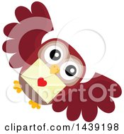 Clipart Of A Valentine Owl Flying With A Love Letter Royalty Free Vector Illustration