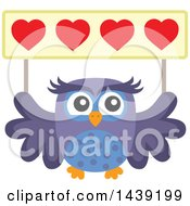Clipart Of A Valentine Owl Holding Up A Heart Banner Royalty Free Vector Illustration