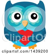 Clipart Of A Valentine Owl Holding A Love Heart Royalty Free Vector Illustration