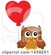 Clipart Of A Brown Valentine Owl Holding A Heart Balloon Royalty Free Vector Illustration