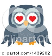 Clipart Of A Valentine Owl Flying With Heart Eyes Royalty Free Vector Illustration