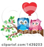 Clipart Of A Valentine Owl Couple With A Heart Balloon On A Branch Royalty Free Vector Illustration