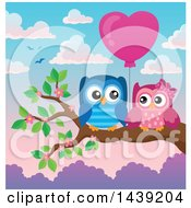 Poster, Art Print Of Valentine Owl Couple With A Heart Balloon On A Branch Over A Sunrise Or Sunset Sky