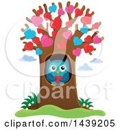 Clipart Of A Valentine Owl In A Heart Tree Royalty Free Vector Illustration