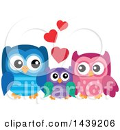 Clipart Of An Owl Family Royalty Free Vector Illustration by visekart