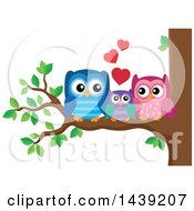 Clipart Of A Cute Owl Family Cuddling On A Tree Branch Royalty Free Vector Illustration by visekart
