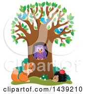 Clipart Of A Spring Tree With Blossoms Leaves Birds An Owl Hedgehog And Fox Royalty Free Vector Illustration by visekart