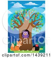 Clipart Of A Spring Tree With Blossoms Leaves Birds An Owl Hedgehog And Fox On A Beautiful Day Royalty Free Vector Illustration by visekart