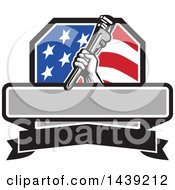 Clipart Of A Retro Plumber Hand Holding A Pipe Monkey Wrench In An American Crest Over A Banner With Text Space Royalty Free Vector Illustration