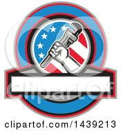 Retro Plumber Hand Holding A Pipe Monkey Wrench In An American Circle Over A Banner With Text Space