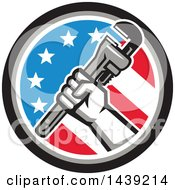 Retro Plumber Hand Holding A Pipe Monkey Wrench In An American Circle