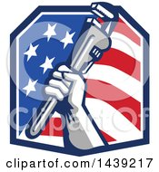 Retro Plumber Hand Holding A Pipe Monkey Wrench In An American Crest