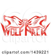 Retro Red Wolf Heads Over Text