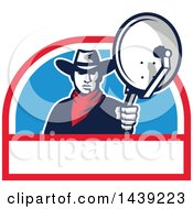 Clipart Of A Retro Cowboy Holding And Aiming A Satellite Dish In A Half Circle Royalty Free Vector Illustration by patrimonio