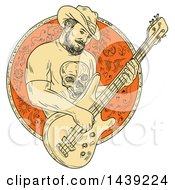 Clipart Of A Sketched Bearded Cowboy Playing A Bass Guitar In A Circle Royalty Free Vector Illustration by patrimonio