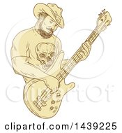 Clipart Of A Sketched Bearded Cowboy Playing A Bass Guitar Royalty Free Vector Illustration by patrimonio