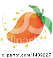 Clipart Of A Watercolor Styled Juicy Mango Fruit Royalty Free Vector Illustration