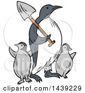 Clipart Of A Sketched Emperor Penguin Carrying A Shovel Over His Shoulder And Walking With Chicks Royalty Free Vector Illustration