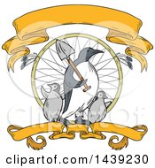 Clipart Of A Sketched Emperor Penguin Carrying A Shovel Over His Shoulder And Walking With Chicks In A Dream Catcher With Ribbons Royalty Free Vector Illustration by patrimonio