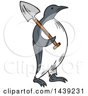 Clipart Of A Sketched Emperor Penguin Carrying A Shovel Over His Shoulder Royalty Free Vector Illustration by patrimonio